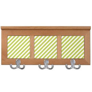 Green and White Diagonal Stripes Pattern Coat Rack