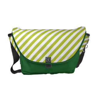 Green and White Diagonal Stripes Pattern Commuter Bag