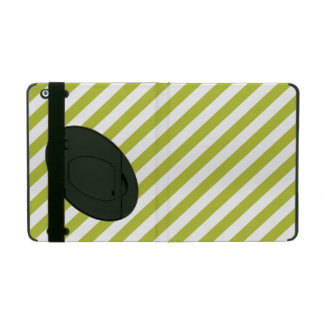 Green and White Diagonal Stripes Pattern Cover For iPad