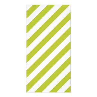 Green and White Diagonal Stripes Pattern Custom Photo Card