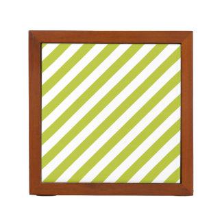 Green and White Diagonal Stripes Pattern Desk Organizer