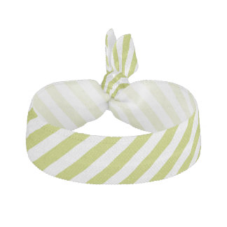 Green and White Diagonal Stripes Pattern Hair Tie