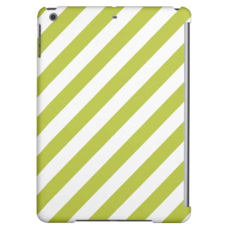 Green and White Diagonal Stripes Pattern iPad Air Cases