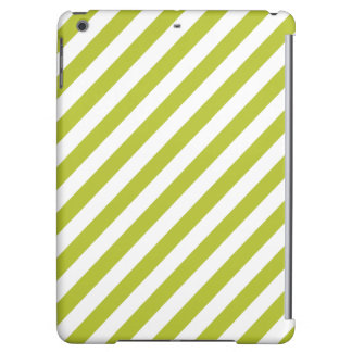 Green and White Diagonal Stripes Pattern iPad Air Cover