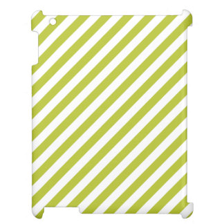 Green and White Diagonal Stripes Pattern iPad Cover