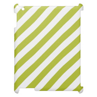 Green and White Diagonal Stripes Pattern iPad Covers