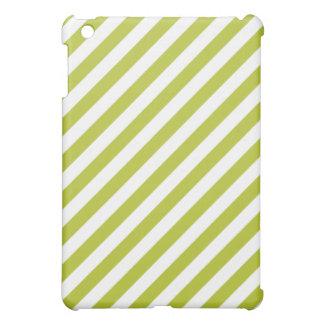 Green and White Diagonal Stripes Pattern iPad Mini Cases