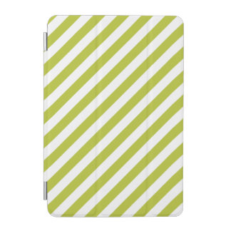 Green and White Diagonal Stripes Pattern iPad Mini Cover