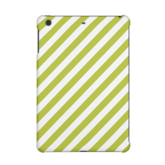 Green and White Diagonal Stripes Pattern iPad Mini Cover