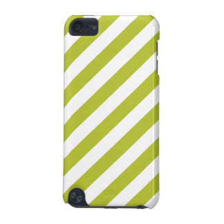 Green and White Diagonal Stripes Pattern iPod Touch 5G Case