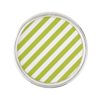 Green and White Diagonal Stripes Pattern Lapel Pin
