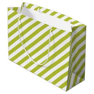Green and White Diagonal Stripes Pattern Large Gift Bag