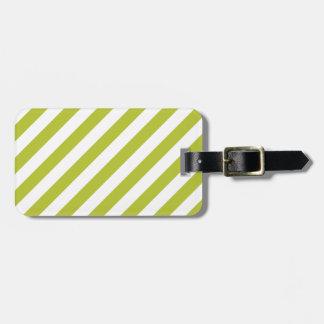 Green and White Diagonal Stripes Pattern Luggage Tag