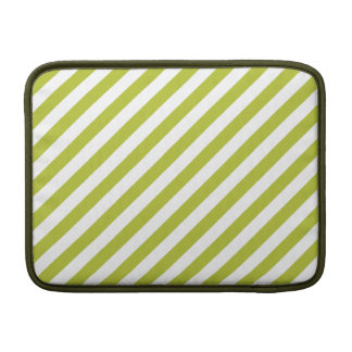 Green and White Diagonal Stripes Pattern MacBook Air Sleeves