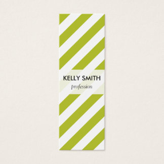 Green and White Diagonal Stripes Pattern Mini Business Card