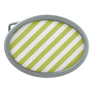 Green and White Diagonal Stripes Pattern Oval Belt Buckles