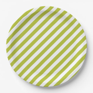 Green and White Diagonal Stripes Pattern Paper Plate