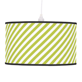 Green and White Diagonal Stripes Pattern Pendant Lamp
