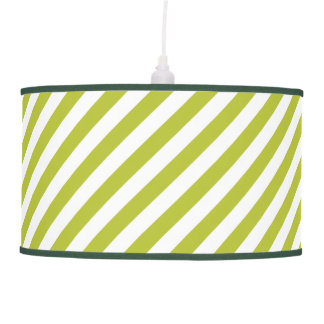 Green and White Diagonal Stripes Pattern Pendant Lamp