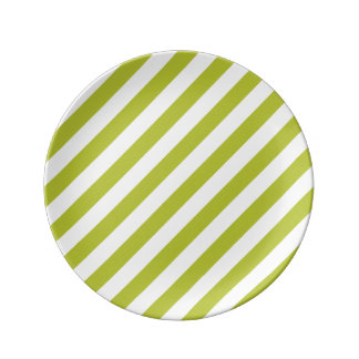 Green and White Diagonal Stripes Pattern Plate