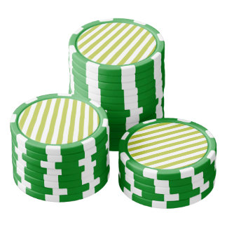 Green and White Diagonal Stripes Pattern Poker Chips
