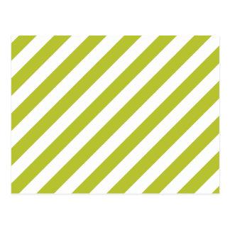 Green and White Diagonal Stripes Pattern Postcard