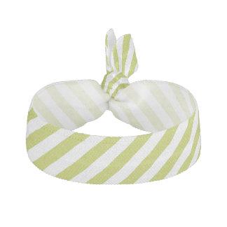 Green and White Diagonal Stripes Pattern Ribbon Hair Tie