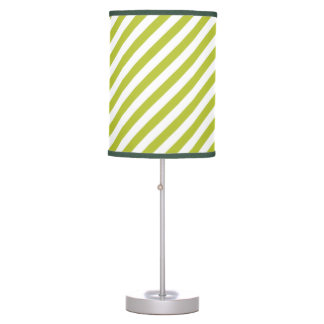 Green and White Diagonal Stripes Pattern Table Lamp