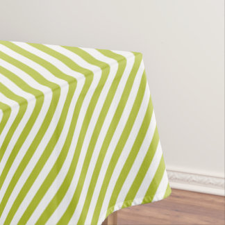 Green and White Diagonal Stripes Pattern Tablecloth