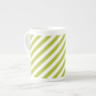Green and White Diagonal Stripes Pattern Tea Cup
