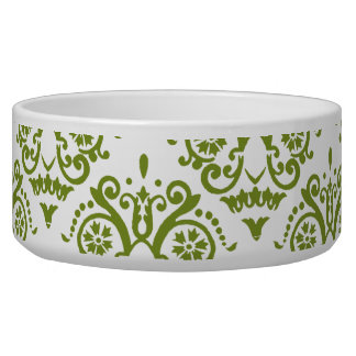 Green and White Elegant Damask