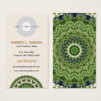 Green and White Farmers Market Mandala Business Card