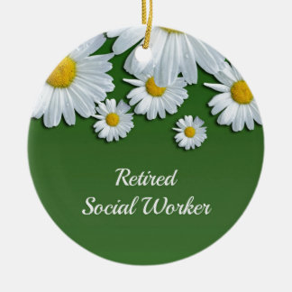 Green and white floral design-retired social worke ceramic ornament