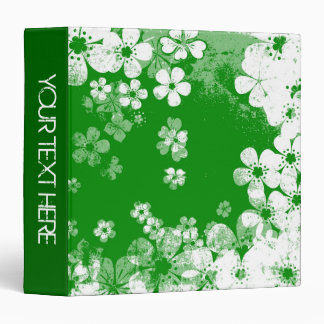 Green and white floral pattern and modern design 3 ring binder