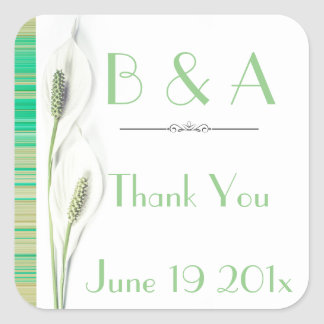 Green and white floral wedding square sticker