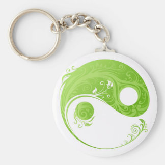 GREEN AND WHITE FLORAL YIN YANG SYMBOL KEYCHAIN