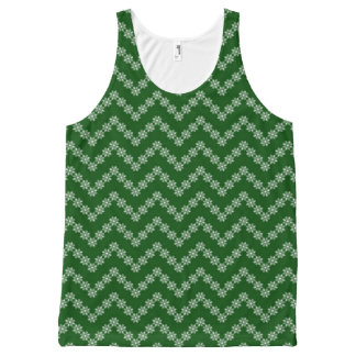 Green And White Floral Zigzag