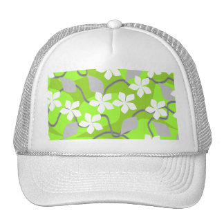 Green and White Flowers. Floral Pattern. Mesh Hat