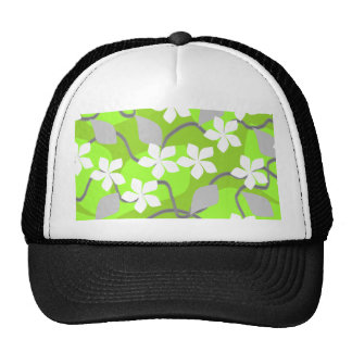 Green and White Flowers Floral Pattern Hat
