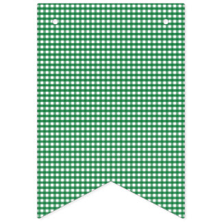Green and White Gingham. Bunting Flags