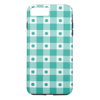 Green And White Gingham Check Dots Pattern iPhone 7 Plus Case