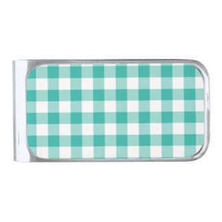 Green  And White Gingham Check Pattern Silver Finish Money Clip