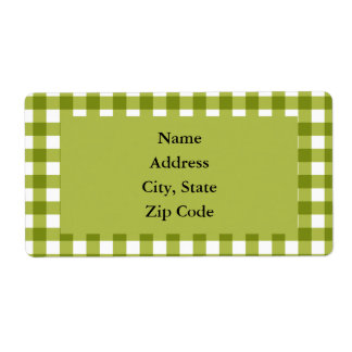 Green and White Gingham Pattern Shipping Label