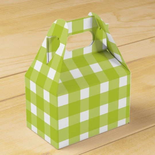 Green And White Gingham Plaid Wedding Party Favor Box