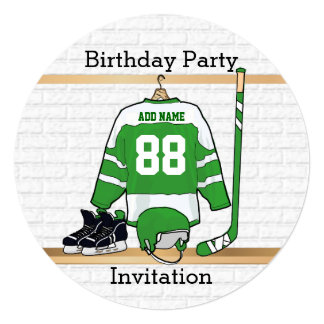 "Green and White Ice Hockey Jersey Birthday Party 5.25"" Square Invitation Card"