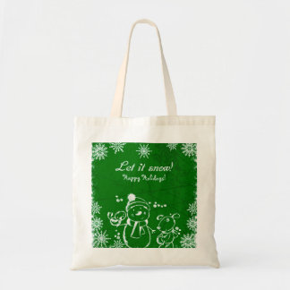 Green And White Illustration- Merry Christmas Tote Bag