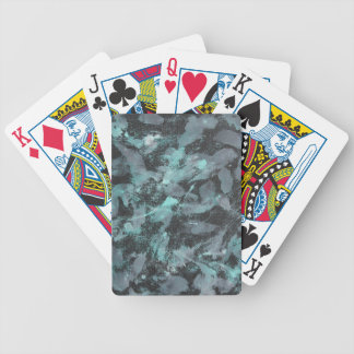 Green and White Ink on Black Background Bicycle Playing Cards