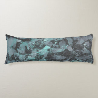 Green and White Ink on Black Background Body Pillow