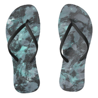 Green and White Ink on Black Background Flip Flops