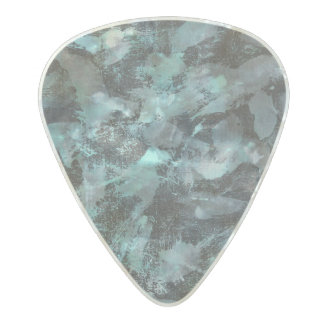Green and White Ink on Black Background Pearl Celluloid Guitar Pick